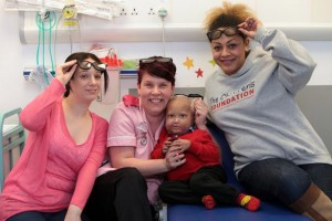 Mum Stef Cockerham, Tracey Gothard, Play Specialist at the Great North Childrens Hospital at the RVI, playing on the new 3D VPod pain distraction unit with patient Jaeden Jeffers, six and Natalina Sutherland of the Childrens Foundation